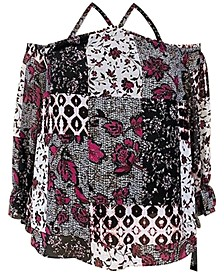 INC Women's Patchwork Cold-Shoulder Top, Created for Macy's