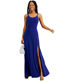Juniors' Strappy Open-Back Gown