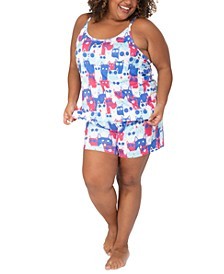 Plus Size Meow Cats Tank & Shorts Sleep Set