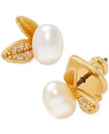 Gold-Tone Pavé Leaf & Freshwater Pearl (4x6mm) Stud Earrings