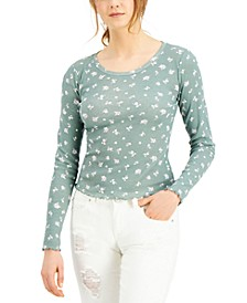 Juniors' Printed Lettuce-Edge Top