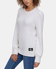 Crew-Neck Puffed-Shoulder Sweater