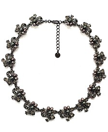"Hematite-Tone Mixed Crystal & Imitation Pearl Ribbon Cluster Collar Necklace, 17"" + 2"" extender, Created for Macy's"