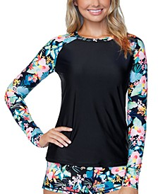 Juniors' Coconut Grove Long-Sleeve Rash Guard, Created for Macy's