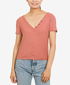 Juniors' Snap-Front Henley Top