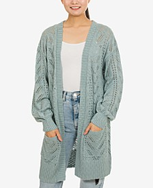 Juniors' Pointelle Open-Front Cardigan