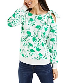 Shadow-Floral Cold-Shoulder Top, Created for Macy's