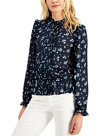 Petite Printed Pintucked Top, Created for Macy's