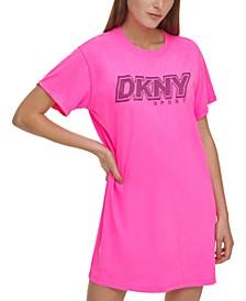 Sport Cotton Rhinestone Logo T-Shirt Dress