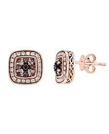 EFFY® Espresso & White Diamond Stud Earrings (1/2 ct. t.w.) in 14k Rose Gold