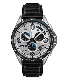 Men's P-51 Mustang Blakeslee Chronograph Command Pilot Black Genuine Leather Strap Watch, 43mm