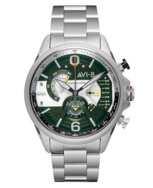 Men's Hawker Harrier Dual Retrograde Chronograph Military Green Silver Tone Stainless Steel Bracelet Watch