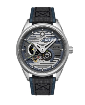 Men's Hawker Harrier XV741 B Automatic Admiral Steel Blue Genuine Leather and Nylon Strap Watch
