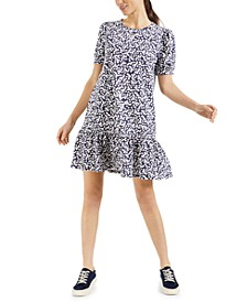 Ditsy-Floral-Print Ruffle-Hem Dress, Created for Macy's