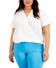 Plus Size Surplice Top, Created for Macy's