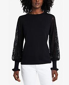 Petite Paisley-Lace-Sleeve Sweater