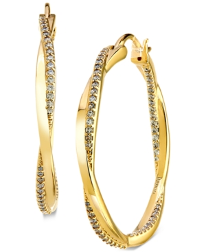 Medium Pave Twist Hoop Earrings