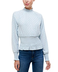 Clip-Dot Mock-Neck Top