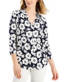 Floral-Print Pleated-Neck Top, Created for Macy's