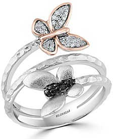 EFFY® White & Black Diamond Butterfly Wrap Ring (1/8 ct. t.w.) in Sterling Silver & 14k Rose Gold-Plate