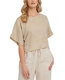 Dropped-Shoulder Linen Crop Top
