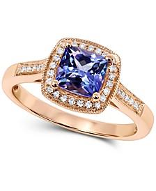 Tanzanite (1 ct. t.w.) & Diamond (1/8 ct. t.w.) Cushion Halo Ring in 14k Rose Gold