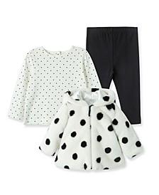 Baby Girls Dot Plush Jacket with Leggings Set