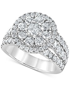 Diamond Openwork Flower Ring (3 ct. t.w.) in 10k White Gold