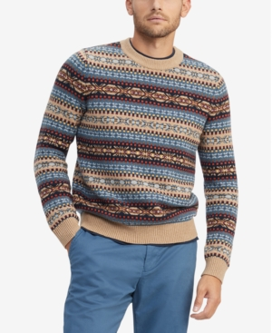 Men's Vintage Sweaters, Retro Jumpers 1920s to 1980s Tommy Hilfiger Mens Bennett Regular-Fit Fair Isle Sweater $77.40 AT vintagedancer.com
