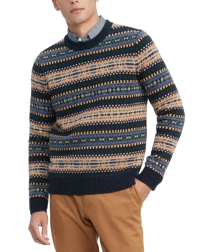 Men's Vintage Sweaters History Tommy Hilfiger Mens Bennett Regular-Fit Fair Isle Sweater $129.00 AT vintagedancer.com