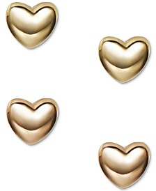 INC Two-Tone 2-Pc. Set Puffy Heart Stud Earrings, Created for Macy's