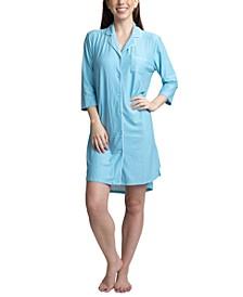 Printed Notch Collar Sleepshirt Nightgown