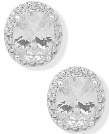 Silver-Tone Crystal Halo Button Earrings