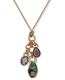 "Gold-Tone Multi-Stone Charm 30"" Pendant Necklace"