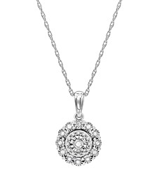 "Diamond Halo Cluster 18"" Pendant Necklace (1/10 ct. t.w.) in Sterling Silver"