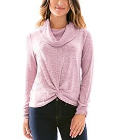 Juniors' Cowlneck Twist-Hem Sweater