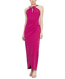 Petite Embellished Halter Gown