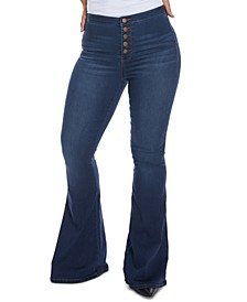 Juniors' High-Rise Button-Fly Flare Jeans