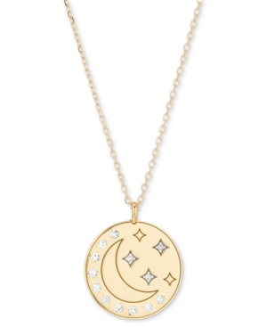 Diamond Moon & Stars Disc Pendant Necklace (1/10 ct. t.w.) in 18k Gold-Plated Sterling Silver