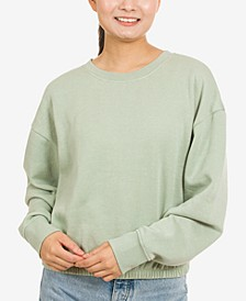 Juniors' Long-Sleeve Control-Hem Sweatshirt