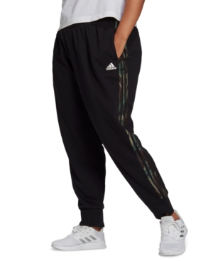Adidas Originals ADIDAS ESSENTIALS PLUS SIZE CAMO 3-STRIPE PANTS