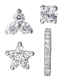 Cubic Zirconia 4-Piece Singlets Earrings Set