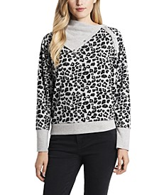 Women's Leopard Jacquard Print Fold Over Neck Long Sleeve Top