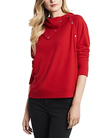 Women's Fold Over Neck Long Sleeve Top