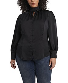 Women's Plus Size Long Sleeve Keyhole Mock Neck Blouse