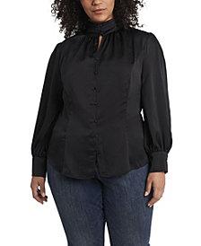 Women's Plus Size Long Sleeve Keyhole Mock Neck Blouse