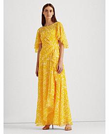 Lauren Ralph Lauren Paisley Ruffled Evening Dress