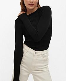 Women's Ribbed Fine-Knit Sweater
