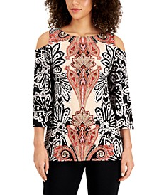 Petite Printed Stud-Detail Cold-Shoulder Top, Created for Macy's