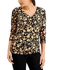 Printed Mesh 3/4-Sleeve Top, Created for Macy's